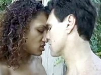 Fantastic black cutie takes big white dick outdoor
