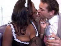 White master having fun with sexy black housemaid