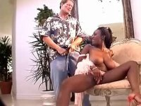 Appetizing ebony shorty gets her big tits jizzed
