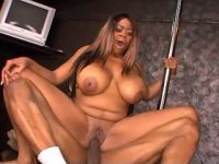 Oversexed ebony fucks doggy style and gets cream